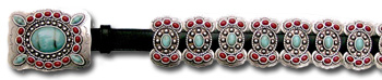 Leather Belt w/ Turquoise & Coral Stone Butterfly Conchos