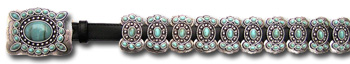 Leather Belt w/ Extra Turquoise Stone Butterfly Conchos