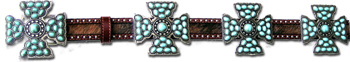 Brindle Cowhide Belt w/ Turquoise Stone Maltese Cross Conchos