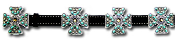 Brown Leather Belt w/ Turquoise Stone & Smoke Crystal Maltese Cross Conchos
