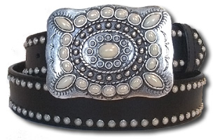 Black Leather Belt w/Pearl Stones