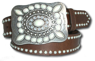 Oil Tanned Leather Belt w/Pearl Stones