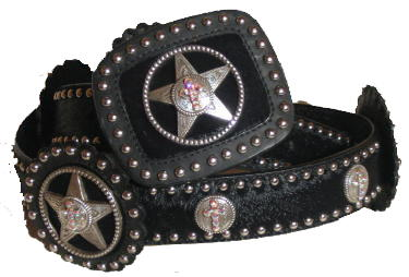 Black Hide belt with stars and AB Crosses