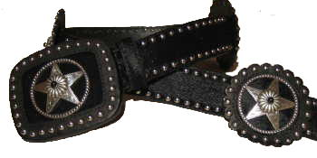 Black Hair Cowhide with Leather Rosets and stars with Black Stone Accent by SSM™ belts.