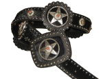 Black Cowhide with Matching Star Roset with Coral accents by SSM Belts.