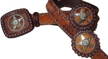 Brindle Cowhide with Leather Rosets and star conchos with Turquoise stone accentsby SSM belts.