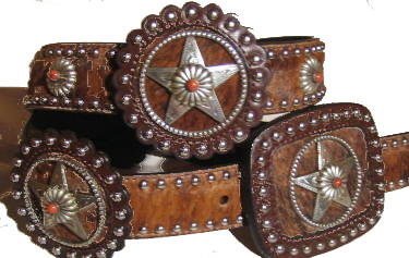 Brindle Cowhide with Star rossets and Coral stone accent by SSM™ belts