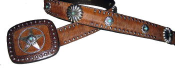 Brindle Cowhide with Turquoise accented ConchosBlack Cowhide with Turquoise accented conchos by SSM™ Belts.