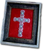 Small Turquoise & Red Butterfly Framed Cross