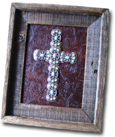 Small Turquoise Butterfly Framed Cross