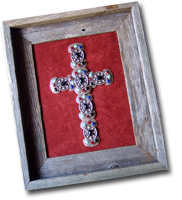 Small Multi Butterfly Framed Cross