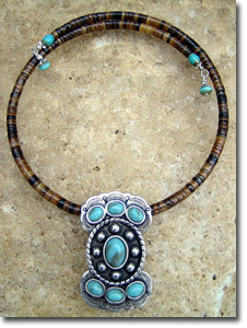 Turquoise Butterfly Concho Necklace