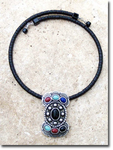 Black, Coral & Turquoise Stone Butterfly Concho Necklace
