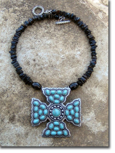 Turquoise Maltese Cross Necklace