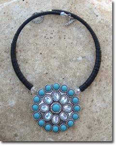 Round Turquoise & Crystal Concho Necklace
