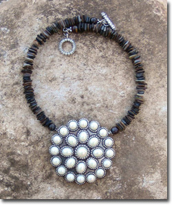 Round Pearl Concho Necklace