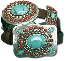 Oil Tanned Leather Belt w/Turquoise & Coral Butterflies & Conchos