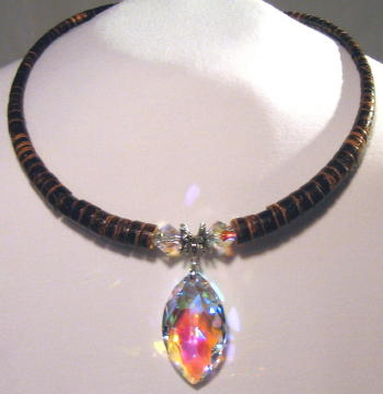 Swavorski Marquee Crystal Necklace with Brown heishe neck made with memory wire to fit all by SSM Belts.
